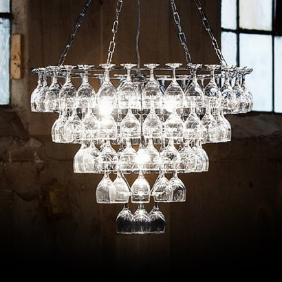 Vino Contemporary Wine Glass Chandelier Throughout Most Up To Date Glass Chandelier (Gallery 5 of 10)