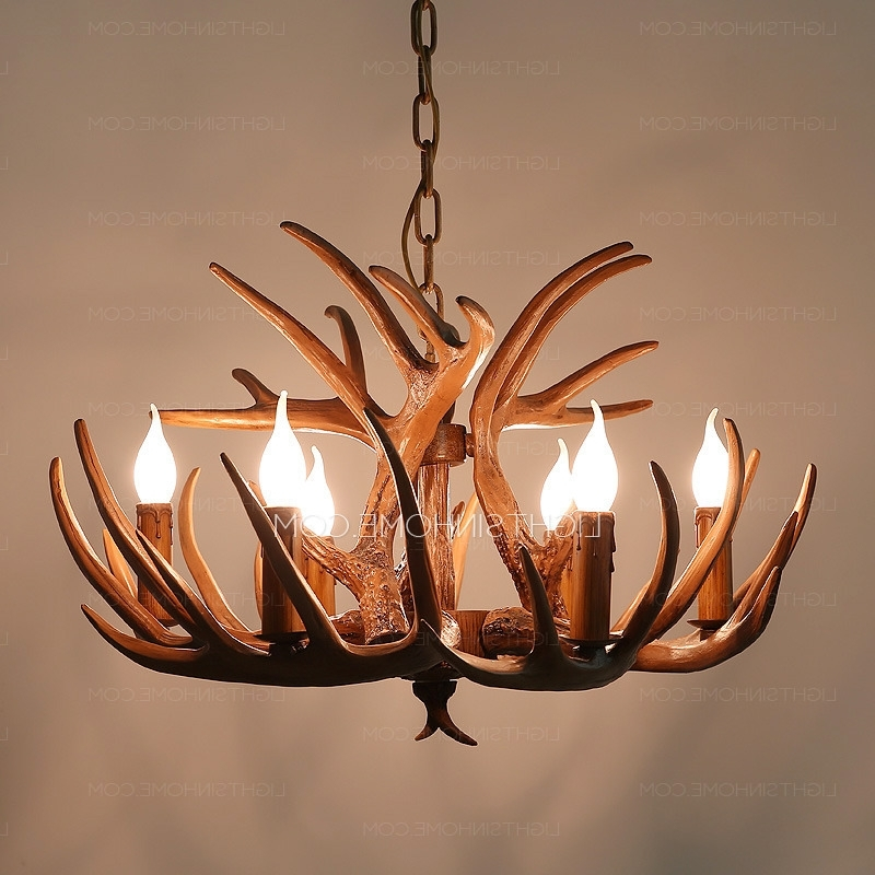 Vintage 6 Light Brown Resin Fixture Faux Antler Chandelier In Most Recently Released Antler Chandeliers And Lighting (Gallery 4 of 10)