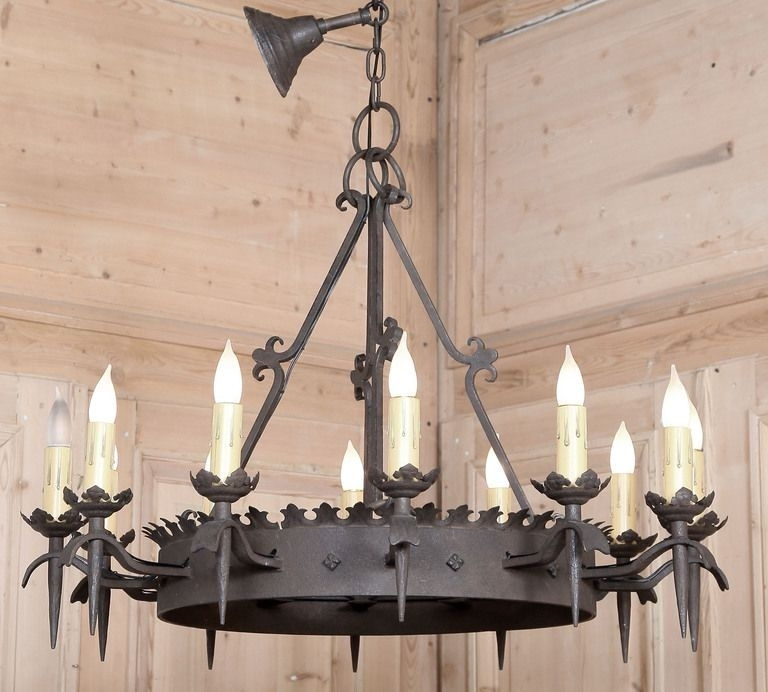 Vintage Gothic Wrought Iron Chandelier (View 9 of 10)