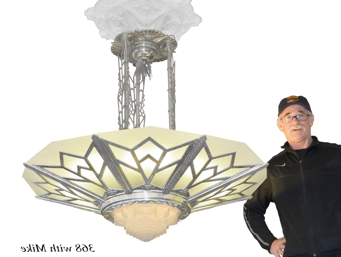 Vintage Hardware & Lighting – Large Art Deco Chandelier Manhattan Within Widely Used Large Art Deco Chandelier (Gallery 8 of 10)
