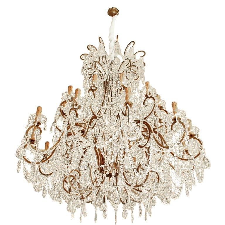 Vintage Italian Chandelier Throughout Famous Impressive Italian Chandelier With Vintage Murano Glass Crystals (View 3 of 10)