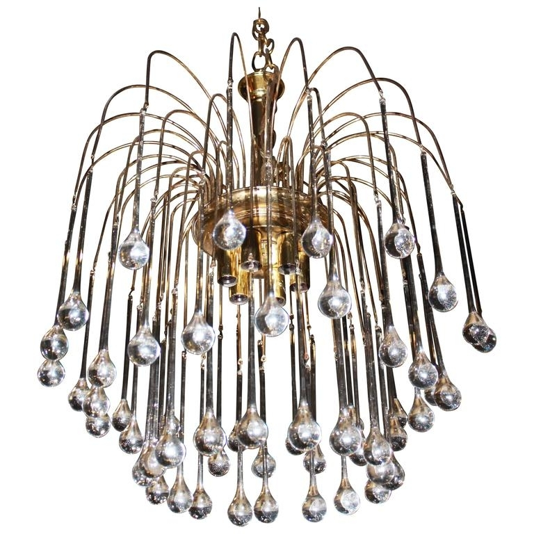 Vintage Italian Chandeliers In Most Popular Vintage Italian Murano Glass Waterfall Chandelier Tear Drop Brass (Gallery 9 of 10)