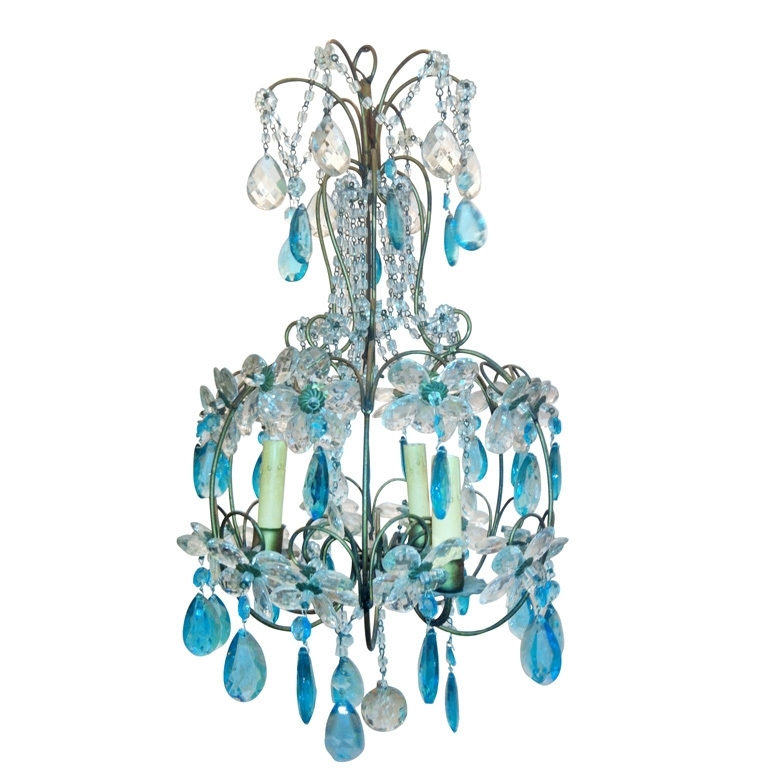Vintage Turquoise Daisy Chandelier (View 7 of 10)