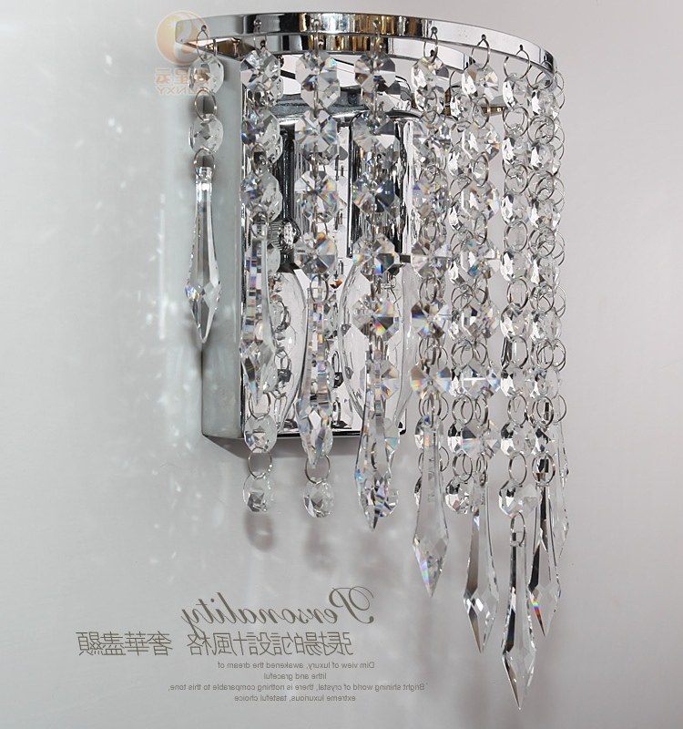 Wall Mount Crystal Chandeliers Within Popular Modern Luxury K9 Crystal Led Wall Lights Lamp Aluminum Wall Mounted (View 9 of 10)