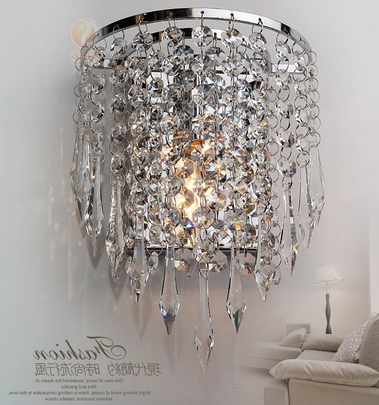 Wall Mounted Mini Chandeliers Within Favorite Modern Luxury K9 Crystal Led Wall Lights Lamp Aluminum Wall Mounted (View 3 of 10)