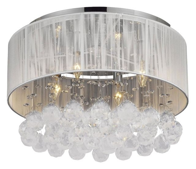 Well Known 4 Light Chrome Crystal Chandeliers Pertaining To Flush Mount With 4 Light Chrome And White Shades Crystal Chandelier (View 9 of 10)