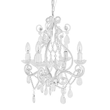 Well Known Amazon : Tadpoles 4 Bulb Vintage Plug In Mini Chandelier, White Throughout White Chandeliers (View 6 of 10)