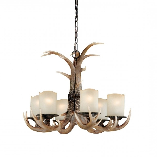 Well Known Antler Chandelier Intended For 6 Light Antler Chandelier Black Walnut – Cabin Antler Lighting (View 9 of 10)