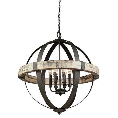 Well Known Artcraft Castello Black And Aspen Wood Six Light  (View 10 of 10)