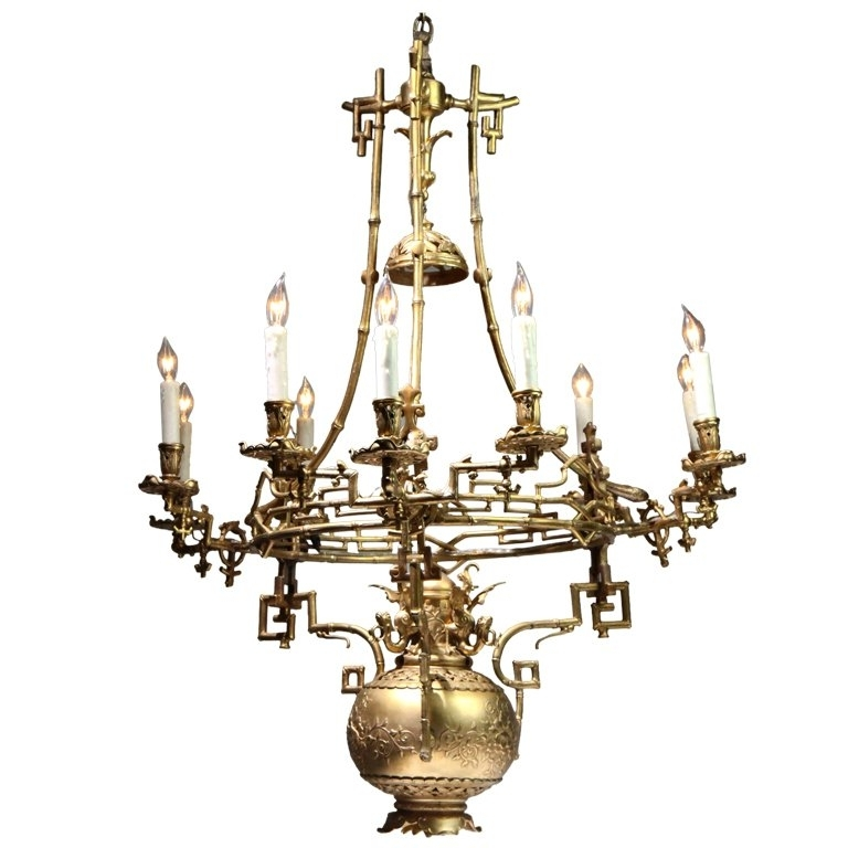 Well Known Chinese Chandelier Inside Chinese Gilt Bronze Chandelier For Sale At 1Stdibs (View 9 of 10)