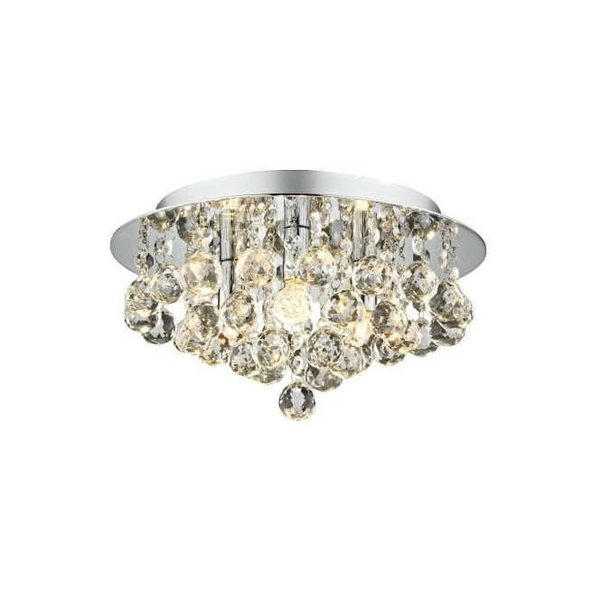 Well Known Chrome Crystal Chandelier Light Fitting Ideal For Low Ceilings (View 10 of 10)
