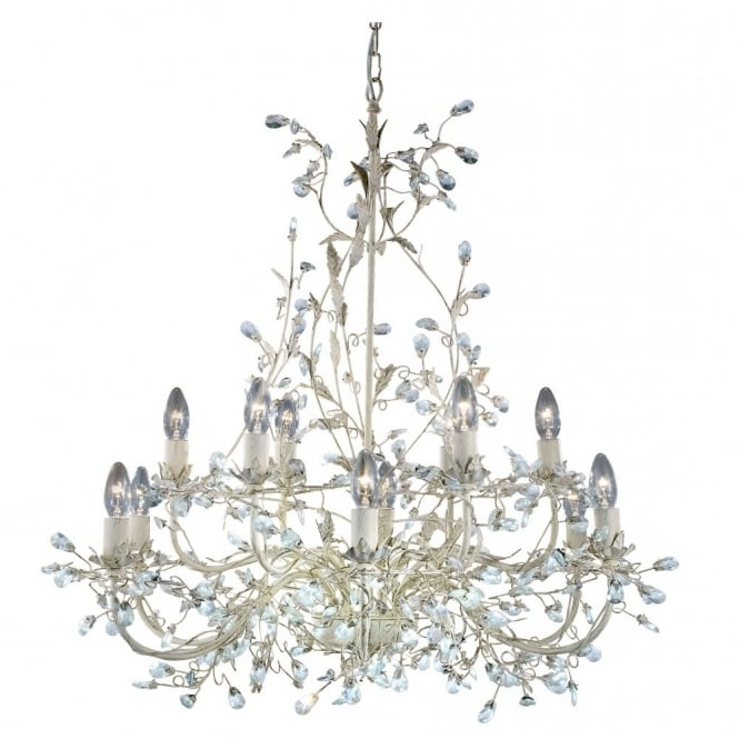 Well Known Cream Chandelier Intended For Almandite Large 12 Light Cream & Gold Chandelier Crystal Droplet Decor (View 10 of 10)