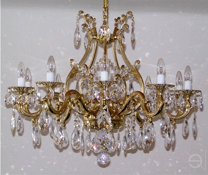 Well Known Crystal And Brass Chandelier Throughout Beautiful Brass Crystal Chandelier On Designing Home Inspiration (View 8 of 10)
