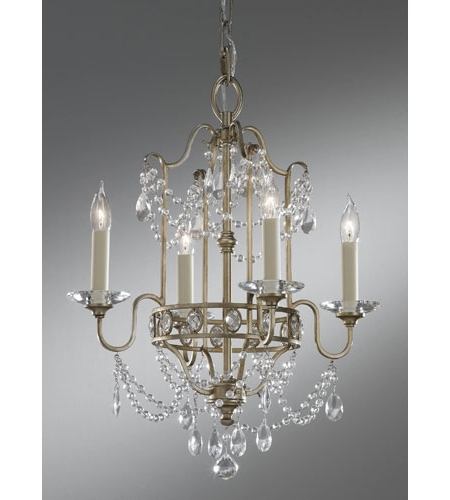 Well Known Gianna Mini Chandeliers Within Feiss F2476/4Gs Gianna 4 Light 16 Inch Gilded Silver Mini Chandelier (View 10 of 10)