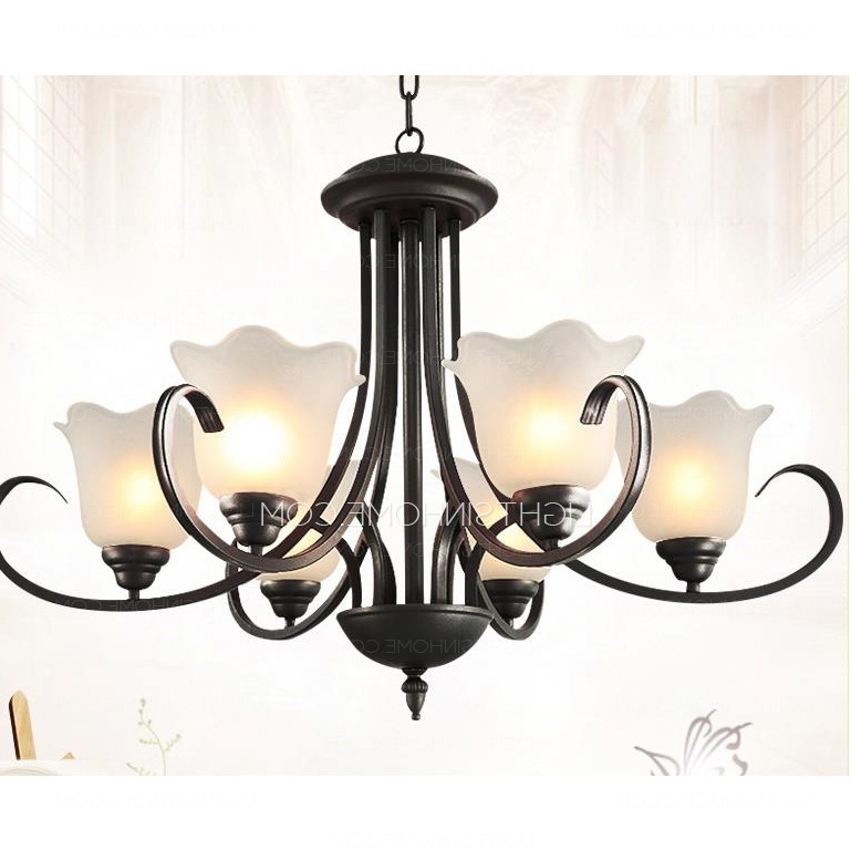 Well Known Modern 6 Light Black Wrought Iron Chandeliers E26/e27 Bulb Base Pertaining To Modern Wrought Iron Chandeliers (View 9 of 10)