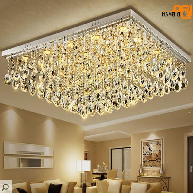 Well Known New Large Modern Crystal Chandelier Living Room Lamp Flush Mount Led With Regard To Hotel Chandelier (View 10 of 10)