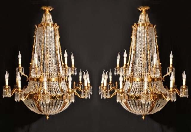 Well Known Pair Of French Empire Ballroom 18 Light Chandeliers (View 10 of 10)