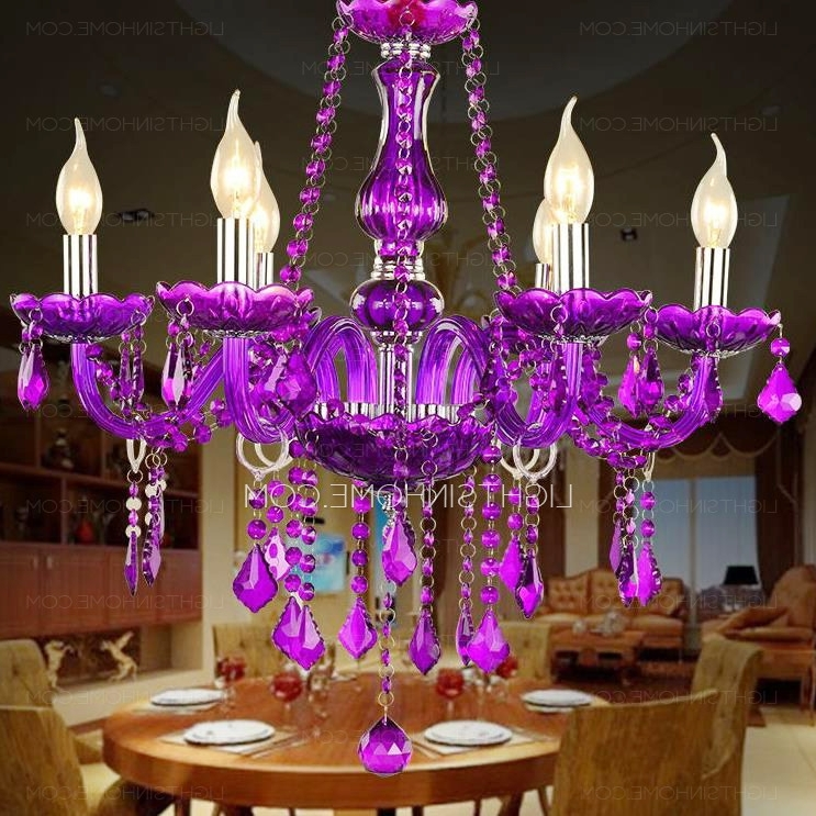 Well Known Purple Crystal Chandelier Lights Intended For Classic 6 Light Candle Like Purple Crystal Chandelier For Living Room (View 10 of 10)