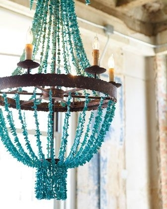Well Known Regina Andrew Design Turquoise Beads Six Light Chandelier (View 8 of 10)