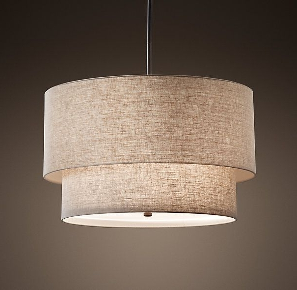 Well Known Rh's Two Tier Round Shade Pendant:our Elegant Fabric Shade Pendants With Fabric Drum Shade Chandeliers (View 10 of 10)