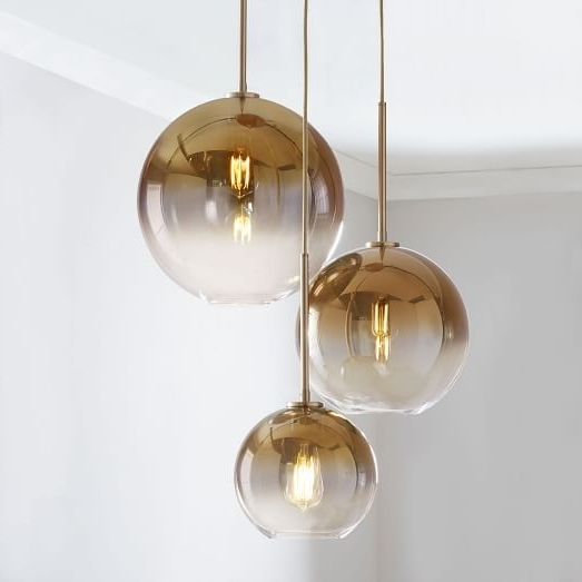 Well Known Sculptural Glass Globe 3 Light Chandelier – Mixed (View 9 of 10)