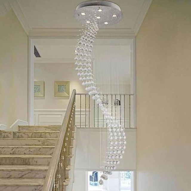 Well Known Staircase Chandeliers With 50*200Cm Spiral Rain Drop Chandelier Modern Crystal Chandeliers (View 10 of 10)