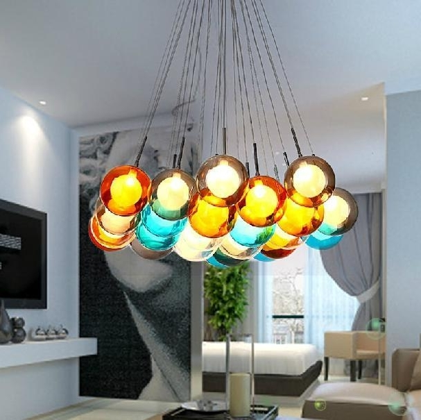 Well Known Turquoise Ball Chandeliers Pertaining To Colorful Glass Ball Pendant Lamp Chandelier Of Colorful Glass (View 10 of 10)