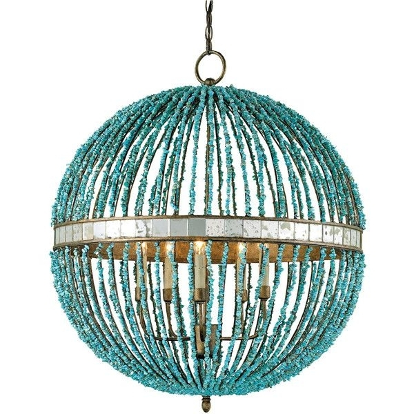 Well Known Turquoise Orb Chandeliers In Lorenz Contemporary Turquoise Beaded 5 Light Orb Pendant Light (View 2 of 10)