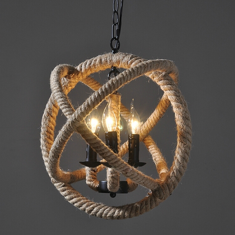 Well Known Vintage Style Chandelier In Vintage Chandeliers Light Retro 3 Lamp E14 E12 Hemp Rope Pertaining (View 10 of 10)