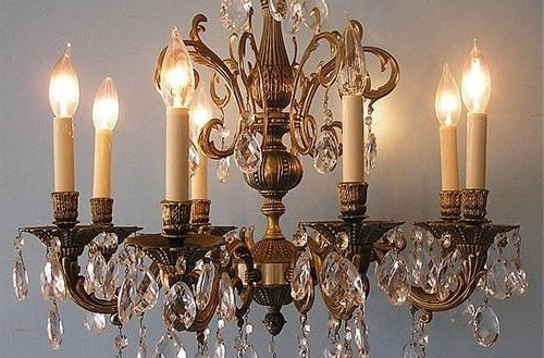 Well Liked Brass And Crystal Chandelier Pertaining To New Interior Vintage 8 Lights Brass Color Crystal Chandelier Lamp (View 9 of 10)