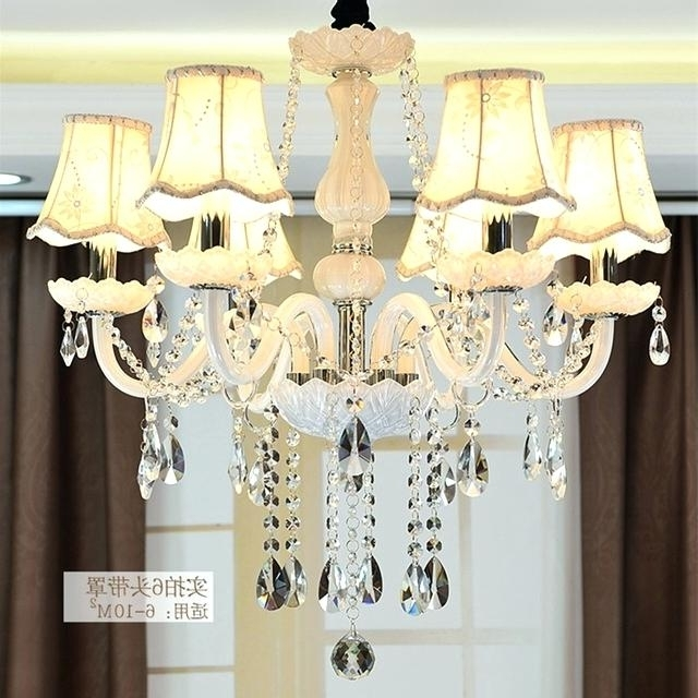 Well Liked Chandelier Lampshades Regarding Lamp Shade Chandelier Classic Pure White 6 Heads Rustic Iron Glass (View 10 of 10)