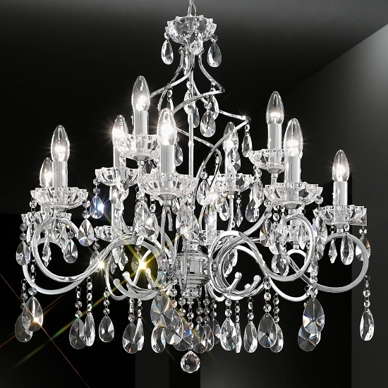 Well Liked Chrome And Crystal Chandelier Intended For Chrome Crystal Chandelier 12 Arm (View 10 of 10)