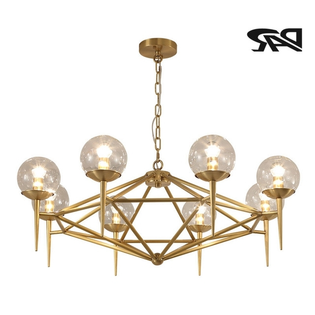 Well Liked Copper Chandeliers Inside Aliexpress : Buy New 6/8 Heads Clear Glass Ball Copper (View 9 of 10)