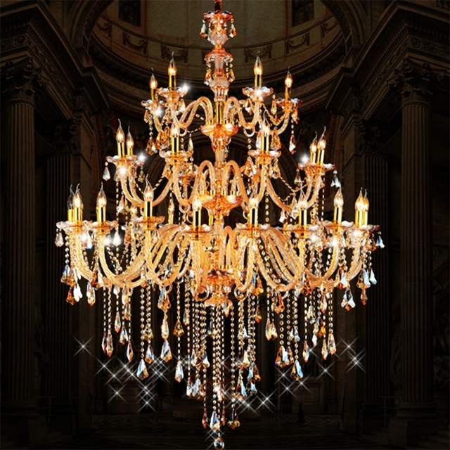 Well Liked Huge Chandeliers For Duplex Penthouse Huge Gold Chandelier Champagne Crystal Lamp Royal (View 9 of 10)