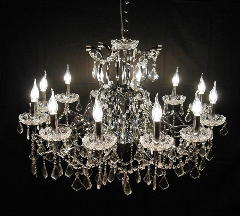 Well Liked Large 12 Branch Arm Chrome Shallow Cut Glass Chandelier Furniture Within Large Glass Chandelier (View 10 of 10)