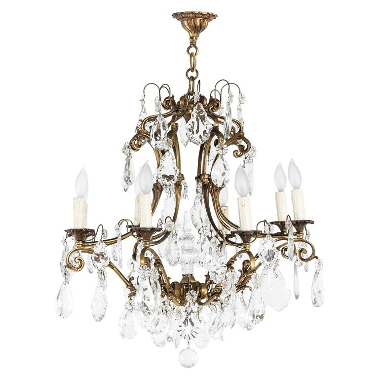 Well Liked Large Mid Century French Crystal And Bronze Chandelier With Eight Intended For Large Bronze Chandelier (View 10 of 10)