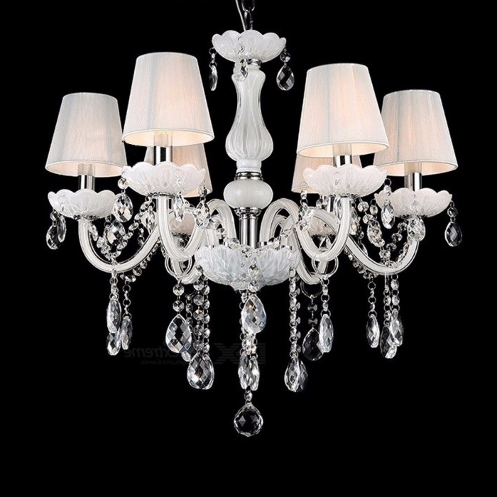 Well Liked New Modern White Crystal Chandeliers, Ceiling Hanging Light Lamp For For White And Crystal Chandeliers (View 8 of 10)