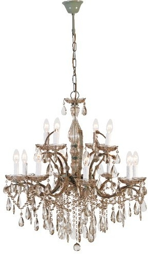 Well Liked Smoked Glass Chandelier Pertaining To Two Tier Smoked Glass Chandelier French Design With Droplets (View 9 of 10)