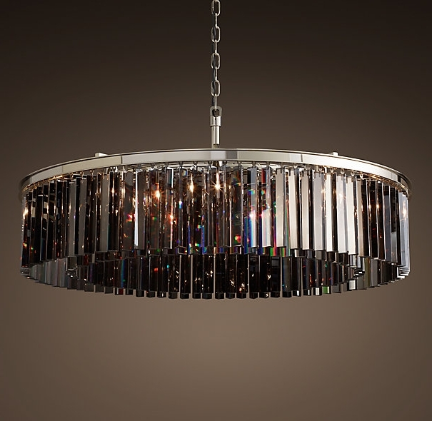 "Well Liked Smoked Glass Chandelier Within Rhys Smoke Glass Prism 44"" Round Chandelier – Polished Nickel (View 10 of 10)"