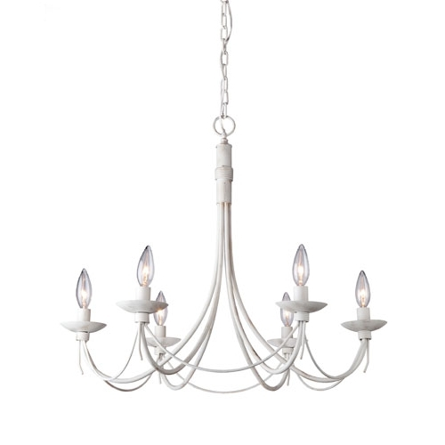 White Chandelier In Well Known Wrought Iron Six Light Antique White Chandelier Artcraft Candles W (View 8 of 10)