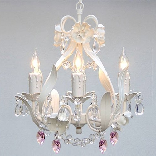 White Iron Floral Crystal Flower Chandelier Lighting W/ Pink Crystal Throughout Preferred White And Crystal Chandeliers (View 9 of 10)