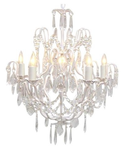 White Wrought Iron Crystal Chandelier – Traditional – Chandeliers In 2017 White And Crystal Chandeliers (View 10 of 10)