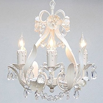 White Wrought Iron Floral Chandelier Crystal Flower Chandeliers With Regard To Best And Newest Country Chic Chandelier (View 10 of 10)