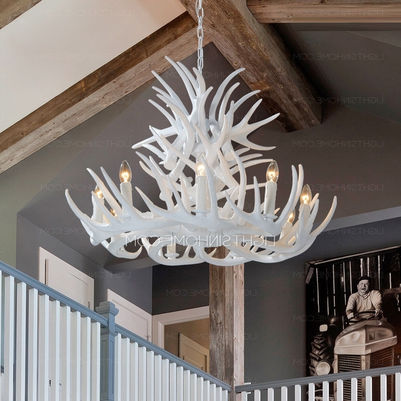 Widely Used 9 Light Modern Antler Chandelier White Painting Candle With Regard To White Antler Chandelier (View 10 of 10)