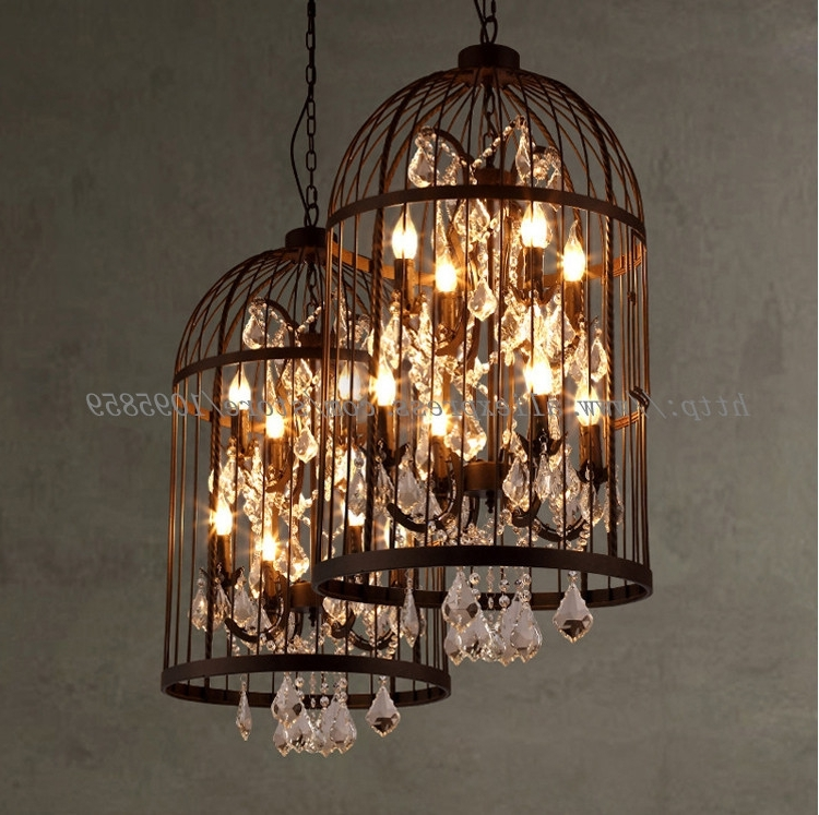 Widely Used Cage Chandeliers With Vintage 4 Lights Bird Cage Crystal Chandelier Lighting Restaurant (View 10 of 10)