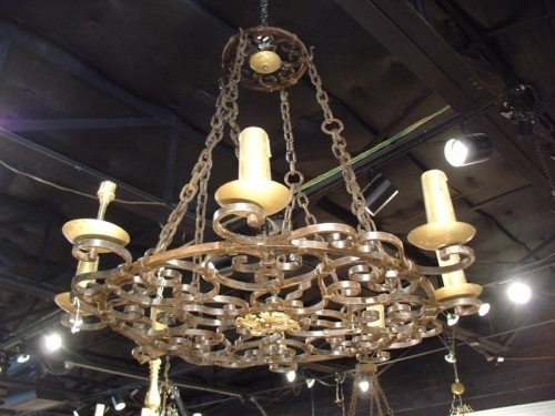 Widely Used Cast Iron Antique Chandelier With Regard To Antique Round Cast Iron Antique Chandelier – Latique Antiques (View 10 of 10)