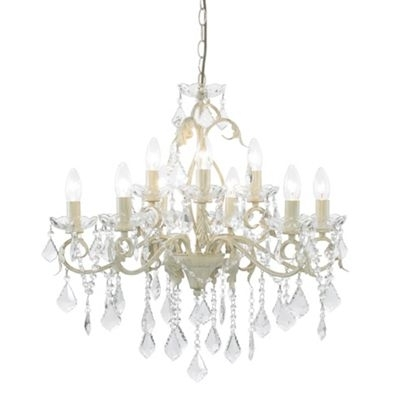 Widely Used Cream Crystal Chandelier For Litecraft Romeo 9 Light Cream And Gold Chandelier  At Debenhams (View 9 of 10)