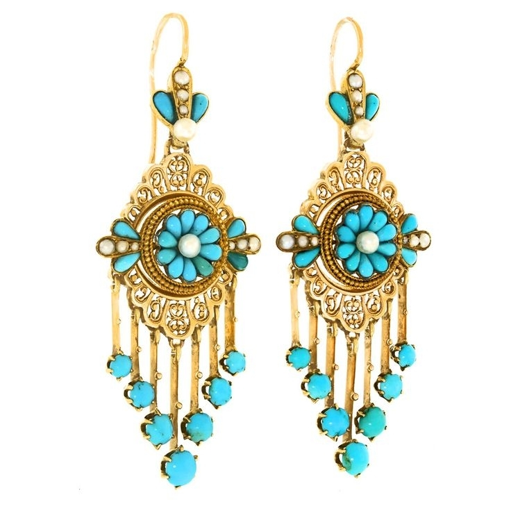 Widely Used Turquoise And Gold Chandeliers Regarding 1337 Best Turquoise Earrings Images On Pinterest (View 10 of 10)
