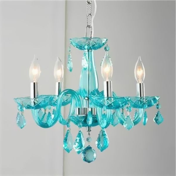 Widely Used Turquoise Blue Chandeliers Throughout Brilliance Lighting And Chandeliers Glamorous 4 Light Full Lead (View 10 of 10)
