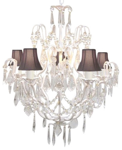 Wrought Iron And Crystal Chandelier With Black Shades Regard To Regarding Most Recent Chandeliers With Black Shades (View 10 of 10)